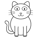 Ella the happy cat children's colouring page