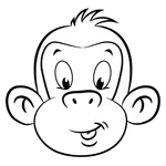Mojo the monkey children's colouring page