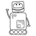 Robbie the Robot colouring page